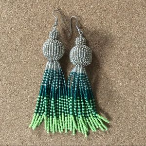 Statement beaded earrings with silver hooks
